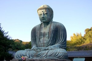 "The most famous statue of Amida Buddha is in Kamakura, Japan. He is said to be the embodiment of enlightenment, compassion and wisdom, renowned for his 48 limitless vows to liberate all beings from suffering. In the Pure Land tradition, practitioners vow to ""follow his example and labour earnestly for the welfare of all humanity."""